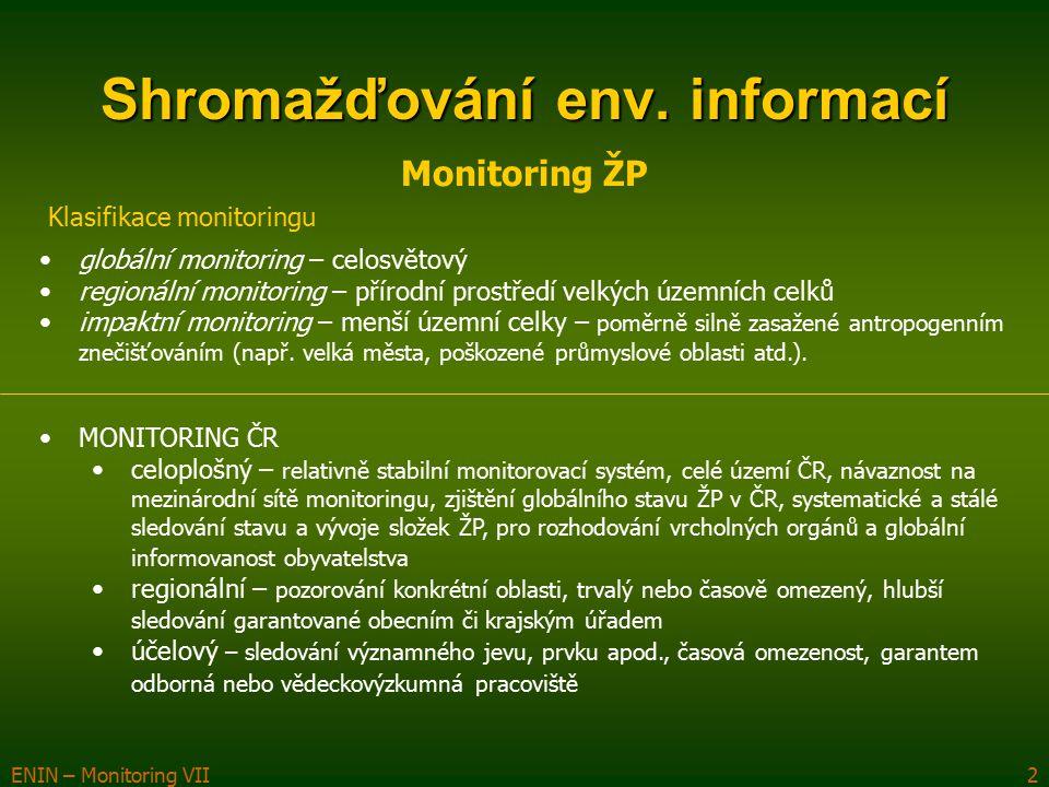 ENIN – Monitoring VII2 Shromažďování env. informací Monitoring ŽP Klasifikace monitoringu globální monitoring – celosvětový regionální monitoring – př