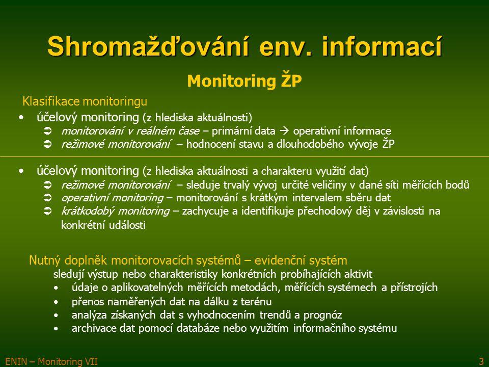 ENIN – Monitoring VII3 Shromažďování env. informací Monitoring ŽP účelový monitoring (z hlediska aktuálnosti)  monitorování v reálném čase – primární