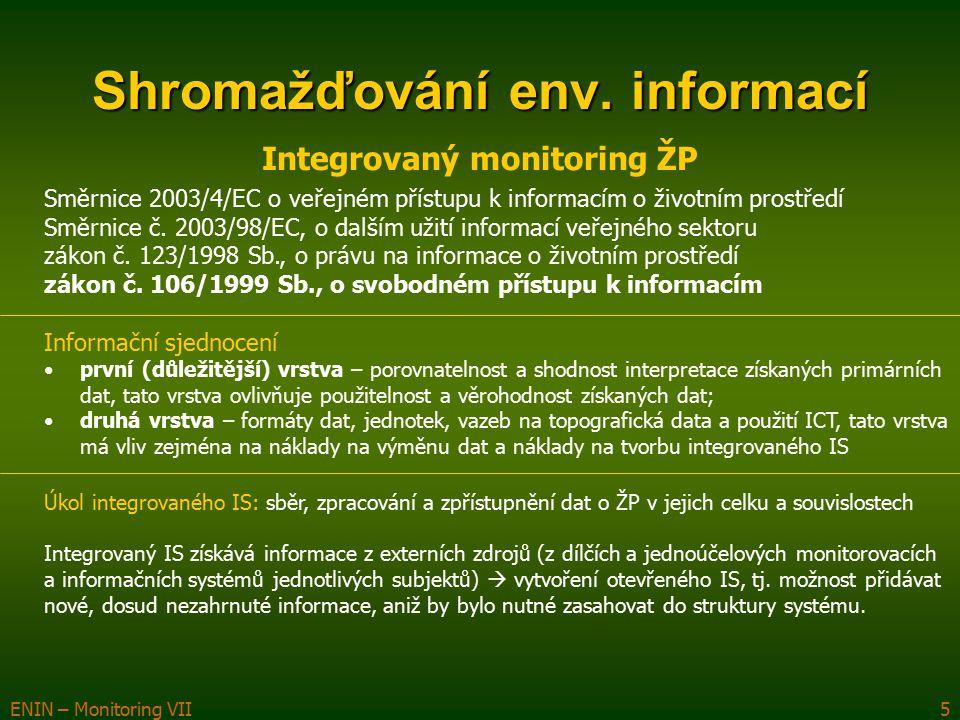 ENIN – Monitoring VII5 Shromažďování env. informací Integrovaný monitoring ŽP Směrnice 2003/4/EC o veřejném přístupu k informacím o životním prostředí