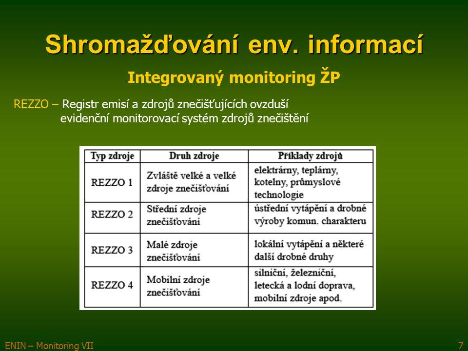 ENIN – Monitoring VII8 Imisní monitoring – přímé měření v terénu – automatizovaný imisní monitoring (AIM) Monitoring vod – Výzkumný ústav vodohospodářský TGM (VÚV TGM) + ČHMÚ Hydroekologický informační systém (HEIS) HEIS VÚV – nadregionální vodohospodářský IS HEIS ČHMÚ IsyPo – IS podniků povodí Labe, Vltava, Ohře, Morava, Odra databáze HEIS VÚV  evidence zdrojů a užívání vody  metainformační systém sledování vod – podzemní vody (sledování jakosti v podzemních vodách) povrchové vody (sledování jakosti vody v povrchových tocích) hydrologická sledování (odtokový, teplotní, ledový režim) jakost vody v tocích Portál ISVS–Voda – MZe Shromažďování env.