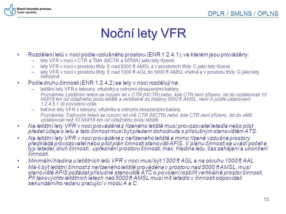 DPLR / SMLNS / OPLNS 15 Noční lety VFR Rozdělení letů v noci podle vzdušného prostoru (ENR 1.2.4.1), ve kterém jsou prováděny: –lety VFR v noci v CTR