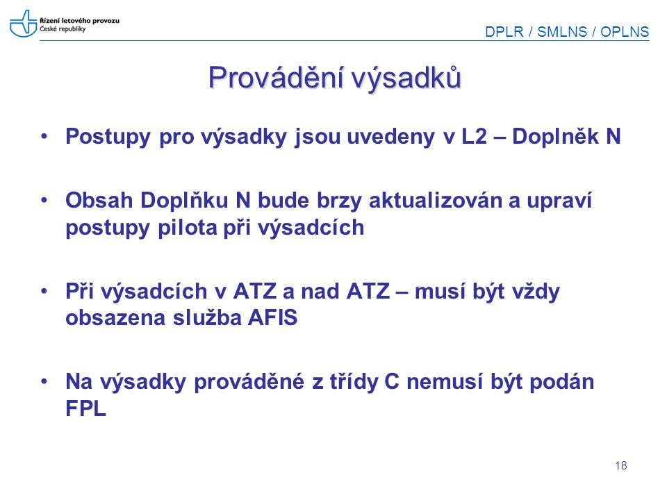 DPLR / SMLNS / OPLNS 18 Provádění výsadků Postupy pro výsadky jsou uvedeny v L2 – Doplněk N Obsah Doplňku N bude brzy aktualizován a upraví postupy pi