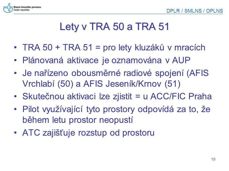 DPLR / SMLNS / OPLNS 19 Lety v TRA 50 a TRA 51 TRA 50 + TRA 51 = pro lety kluzáků v mracích Plánovaná aktivace je oznamována v AUP Je nařízeno obousmě