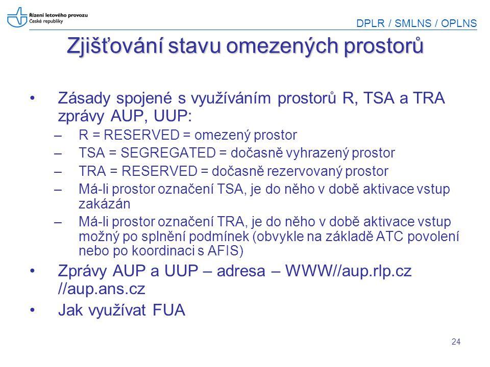DPLR / SMLNS / OPLNS 24 Zjišťování stavu omezených prostorů Zásady spojené s využíváním prostorů R, TSA a TRA zprávy AUP, UUP: –R = RESERVED = omezený