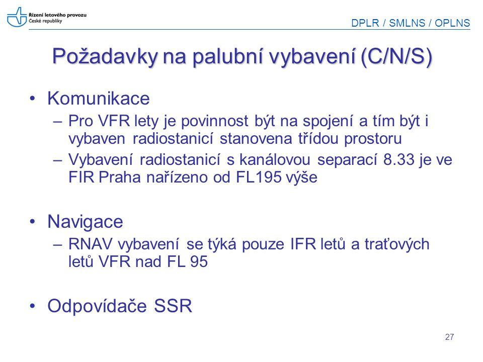 DPLR / SMLNS / OPLNS 27 Požadavky na palubní vybavení (C/N/S) Komunikace –Pro VFR lety je povinnost být na spojení a tím být i vybaven radiostanicí st