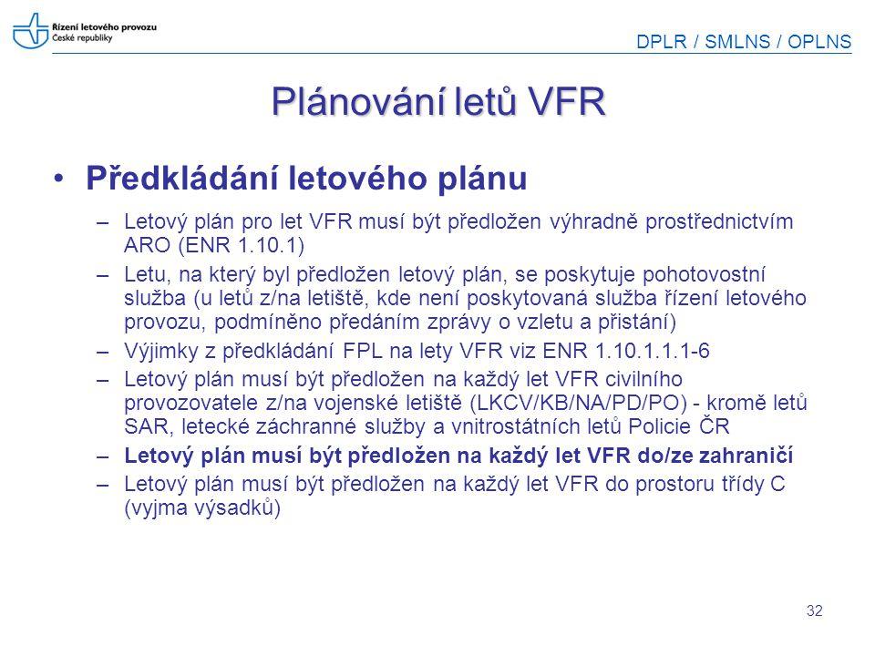 DPLR / SMLNS / OPLNS 32 Plánování letů VFR Předkládání letového plánu –Letový plán pro let VFR musí být předložen výhradně prostřednictvím ARO (ENR 1.