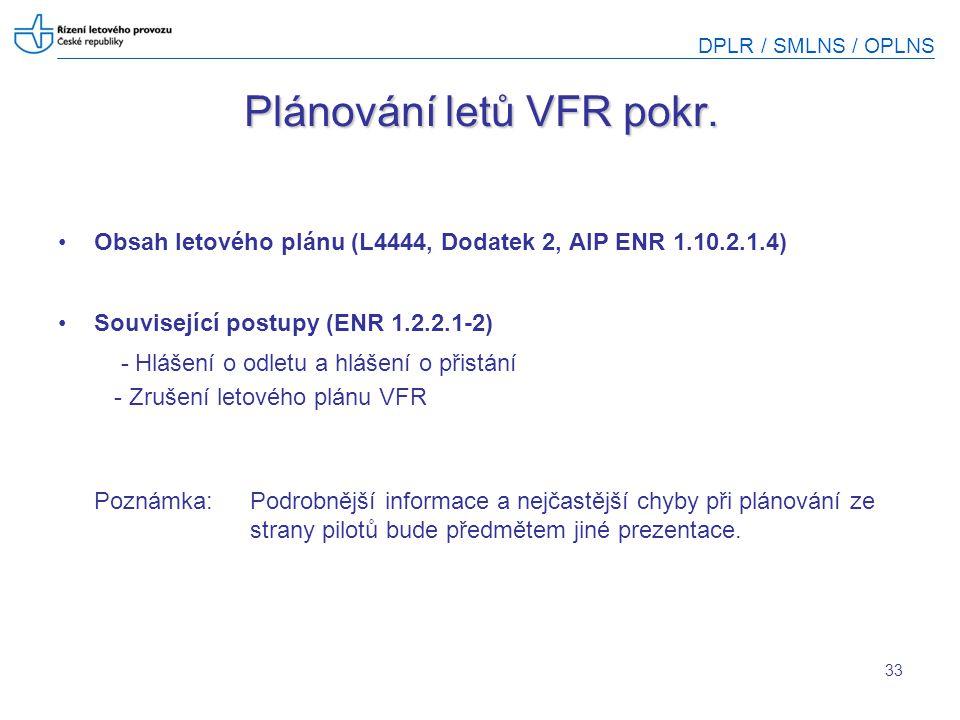 DPLR / SMLNS / OPLNS 33 Plánování letů VFR pokr. Obsah letového plánu (L4444, Dodatek 2, AIP ENR 1.10.2.1.4) Související postupy (ENR 1.2.2.1-2) - Hlá
