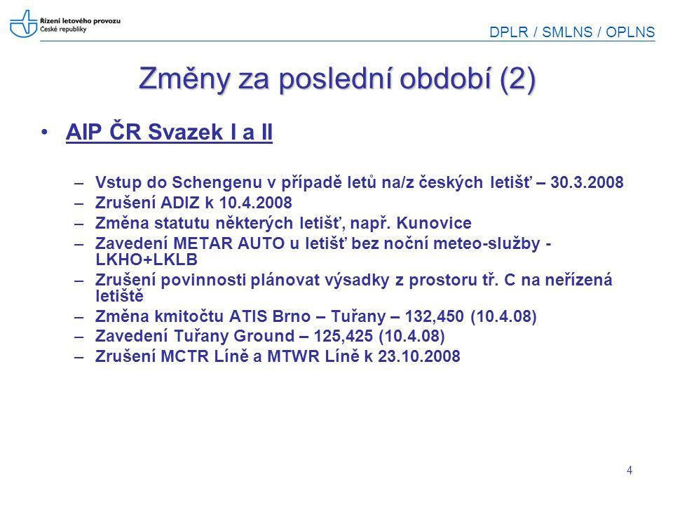 DPLR / SMLNS / OPLNS Změny za poslední období (3) Změna provozní doby LKVO CTR a TWR 15.1.2009 HX = nespecifikovaná provozní doba CTR /TWR/AD ATIS – 129,750 MHz (H24) – informace o statutu prostoru ATIS na Tel = 731 135 187 Mimo aktivaci = –TMA zaniká – třída E –Část CTR se mění na TMA IX Praha –Část CTR zaniká a mění se na třídu G