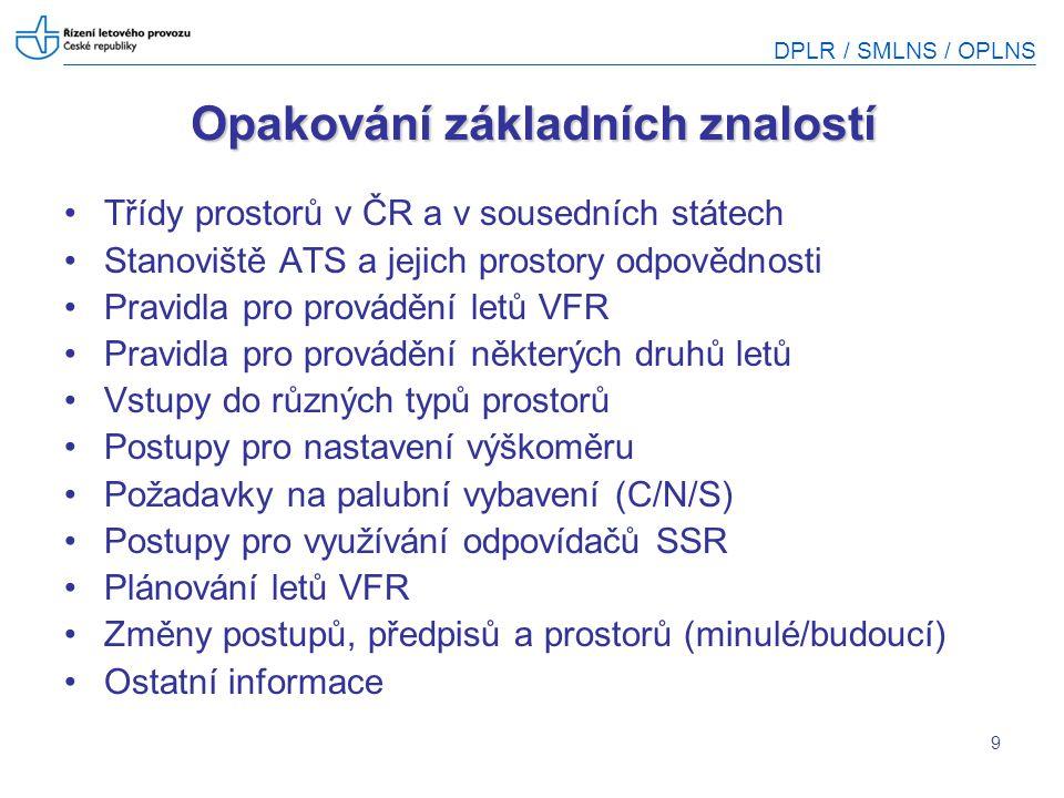 DPLR / SMLNS / OPLNS 9 Opakování základních znalostí Třídy prostorů v ČR a v sousedních státech Stanoviště ATS a jejich prostory odpovědnosti Pravidla