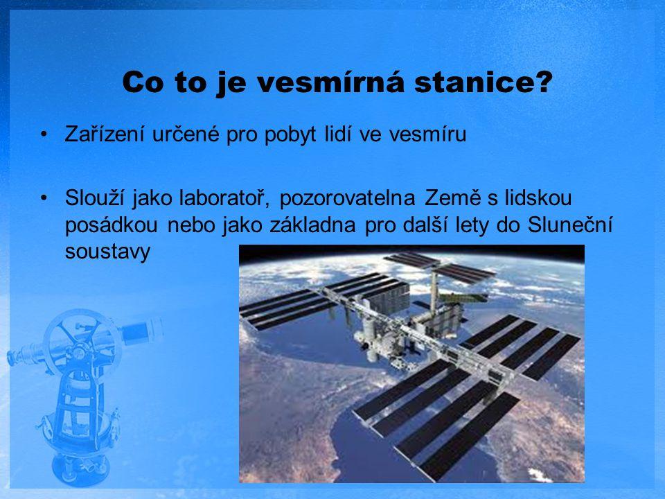 Co to je vesmírná stanice? Zařízení určené pro pobyt lidí ve vesmíru Slouží jako laboratoř, pozorovatelna Země s lidskou posádkou nebo jako základna p