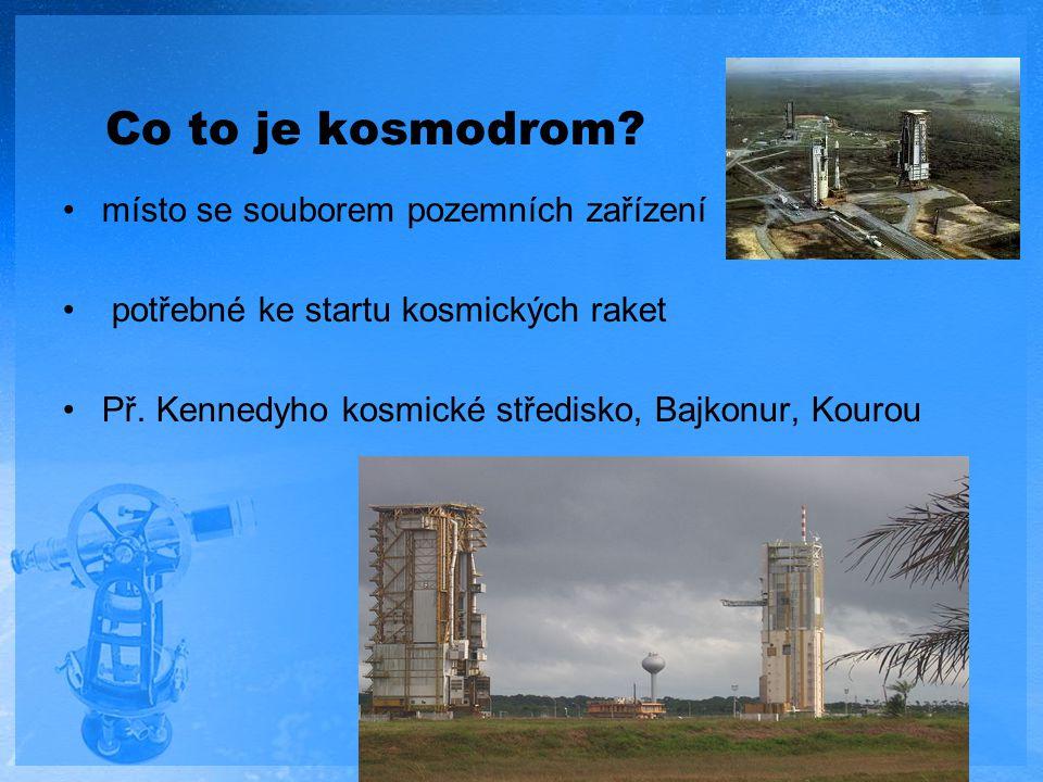 Co to je kosmodrom? místo se souborem pozemních zařízení potřebné ke startu kosmických raket Př. Kennedyho kosmické středisko, Bajkonur, Kourou