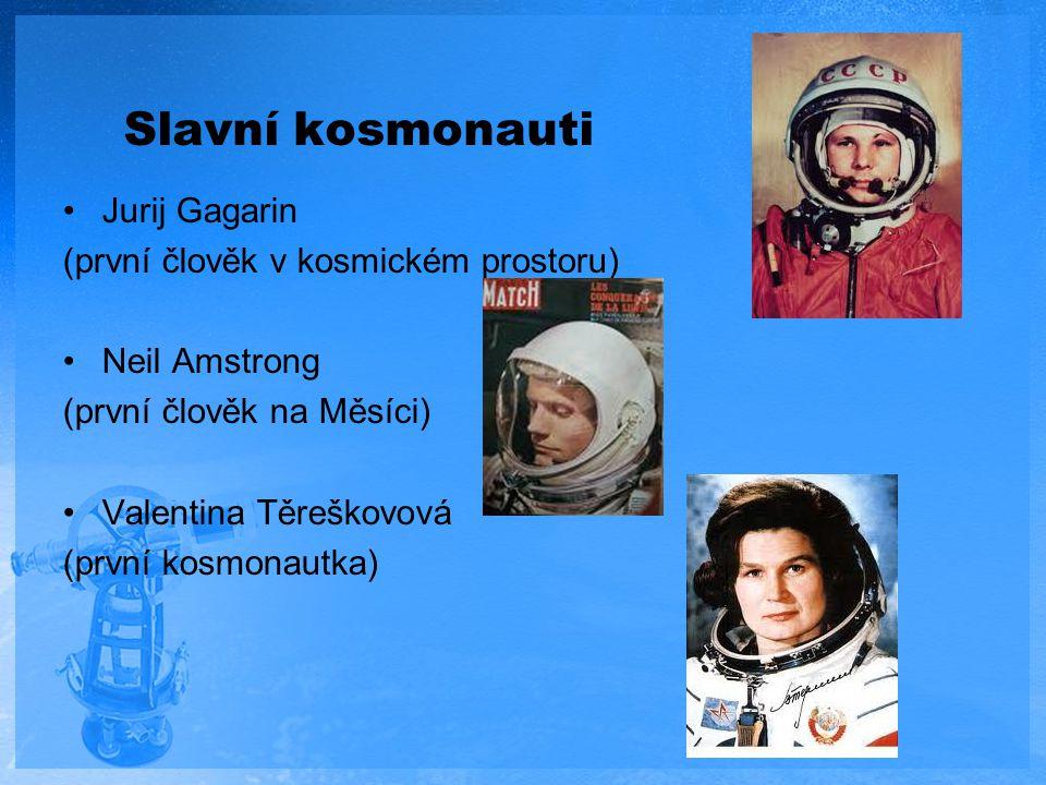 Slavní kosmonauti Jurij Gagarin (první člověk v kosmickém prostoru) Neil Amstrong (první člověk na Měsíci) Valentina Těreškovová (první kosmonautka)