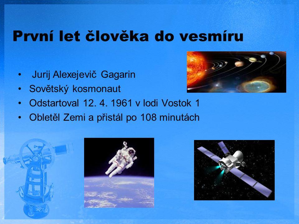 První let člověka do vesmíru Jurij Alexejevič Gagarin Sovětský kosmonaut Odstartoval 12. 4. 1961 v lodi Vostok 1 Obletěl Zemi a přistál po 108 minutác