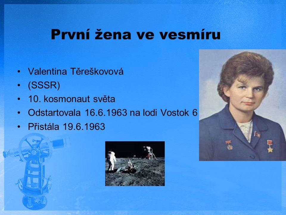 První žena ve vesmíru Valentina Těreškovová (SSSR) 10. kosmonaut světa Odstartovala 16.6.1963 na lodi Vostok 6 Přistála 19.6.1963