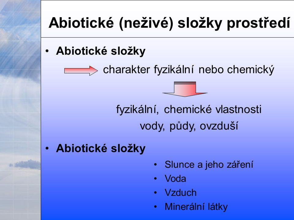 Abiotické (neživé) složky prostředí charakter fyzikální nebo chemický fyzikální, chemické vlastnosti vody, půdy, ovzduší Abiotické složky Slunce a jeho záření Voda Vzduch Minerální látky Abiotické složky