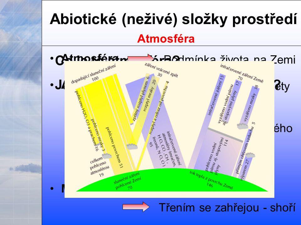 Abiotické (neživé) složky prostředí Atmosféra Co je to atmosféra.
