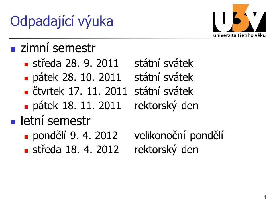 44 Odpadající výuka zimní semestr středa 28.9. 2011státní svátek pátek 28.