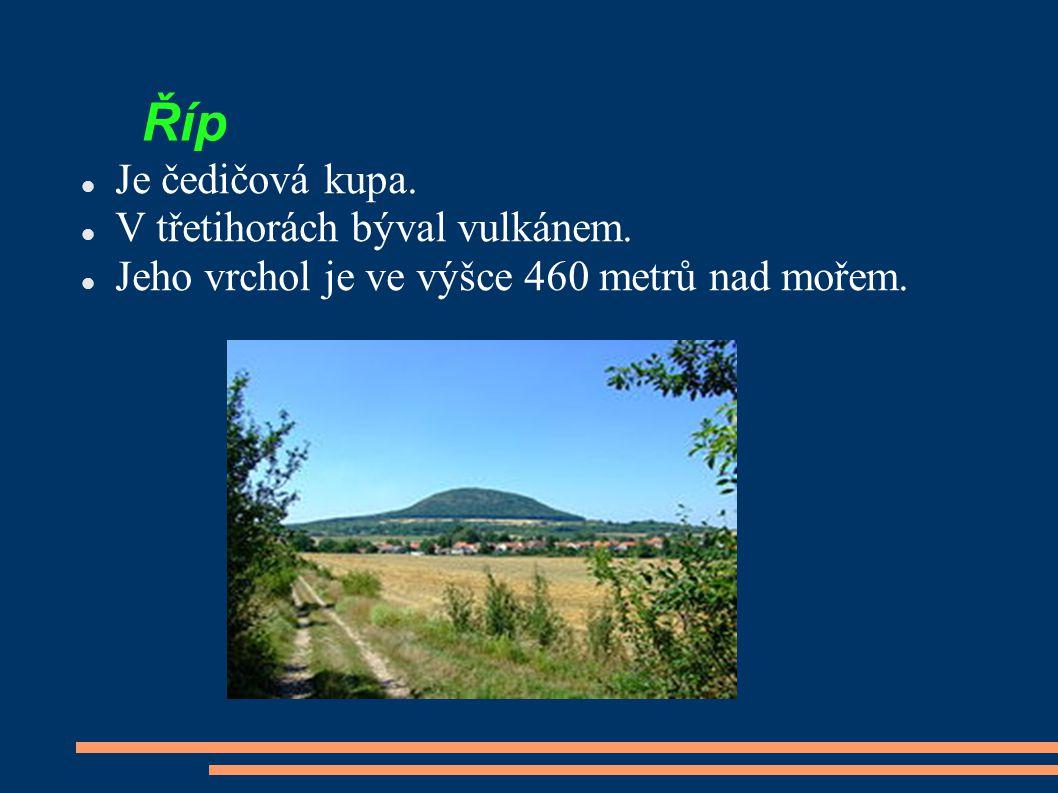 Říp Je čedičová kupa. V třetihorách býval vulkánem. Jeho vrchol je ve výšce 460 metrů nad mořem.