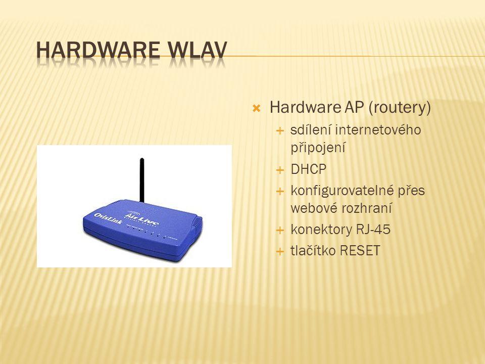  Hardware AP (routery)  sdílení internetového připojení  DHCP  konfigurovatelné přes webové rozhraní  konektory RJ-45  tlačítko RESET