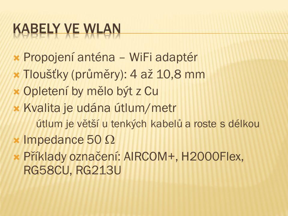  Propojení anténa – WiFi adaptér  Tloušťky (průměry): 4 až 10,8 mm  Opletení by mělo být z Cu  Kvalita je udána útlum/metr útlum je větší u tenkých kabelů a roste s délkou  Impedance 50   Příklady označení: AIRCOM+, H2000Flex, RG58CU, RG213U