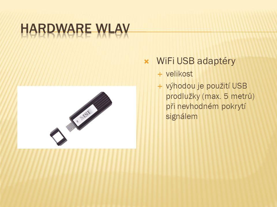  WiFi USB adaptéry  velikost  výhodou je použití USB prodlužky (max. 5 metrů) při nevhodném pokrytí signálem