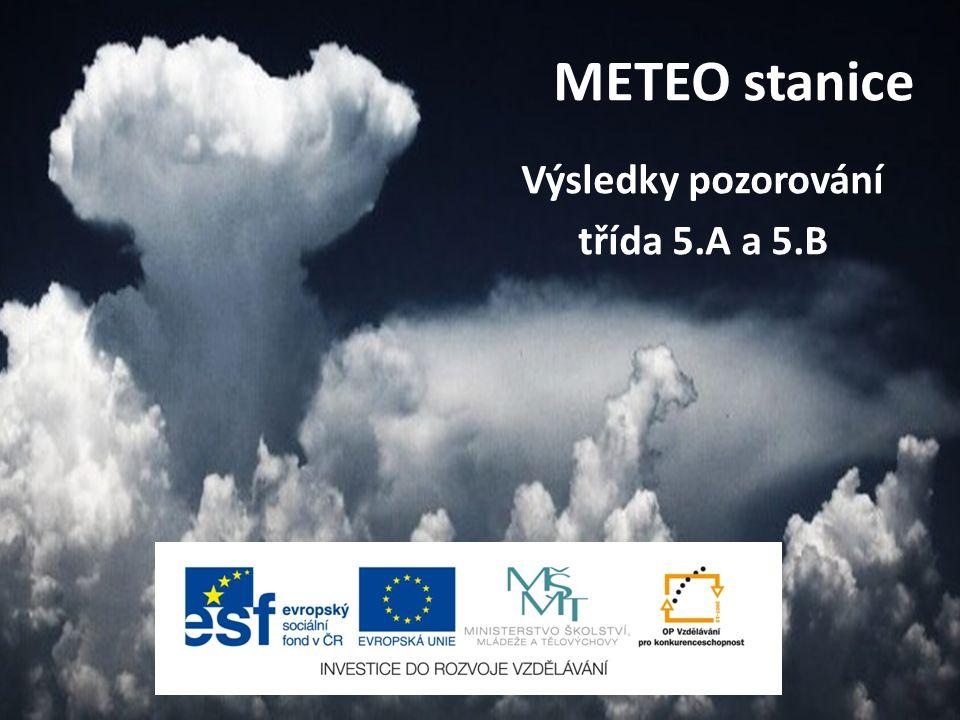 METEO stanice Výsledky pozorování třída 5.A a 5.B
