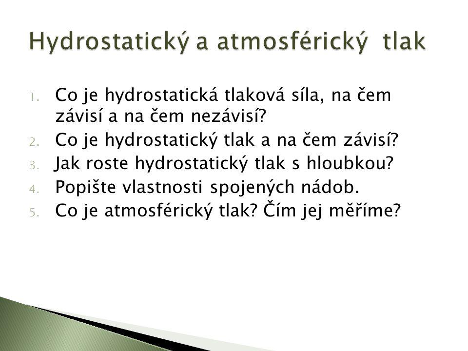 1. Co je hydrostatická tlaková síla, na čem závisí a na čem nezávisí.