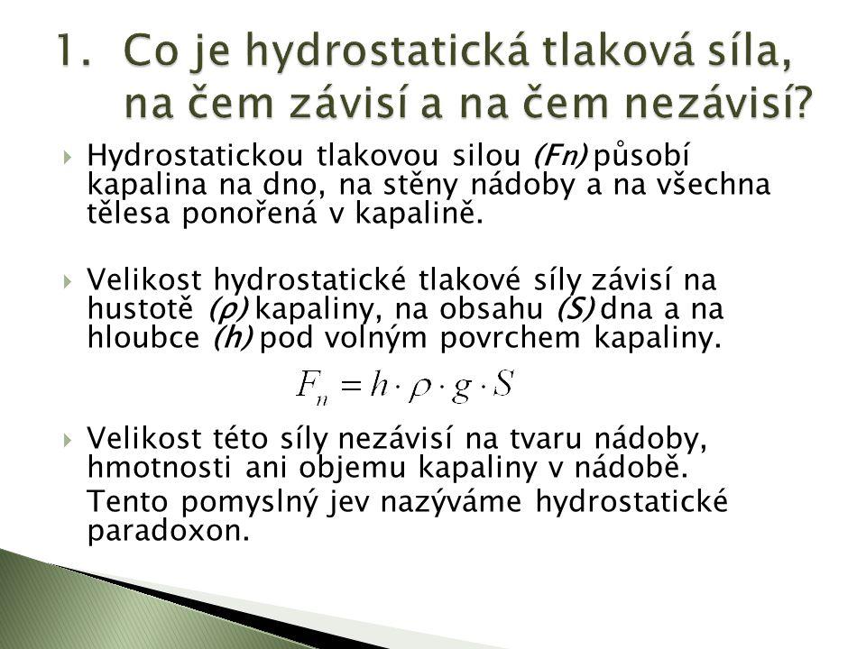  Hydrostatickou tlakovou silou (F n ) působí kapalina na dno, na stěny nádoby a na všechna tělesa ponořená v kapalině.