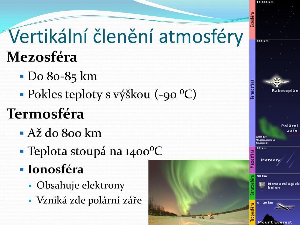 Vertikální členění atmosféry Mezosféra  Do 80-85 km  Pokles teploty s výškou (-90 ⁰C) Termosféra  Až do 800 km  Teplota stoupá na 1400⁰C  Ionosféra  Obsahuje elektrony  Vzniká zde polární záře