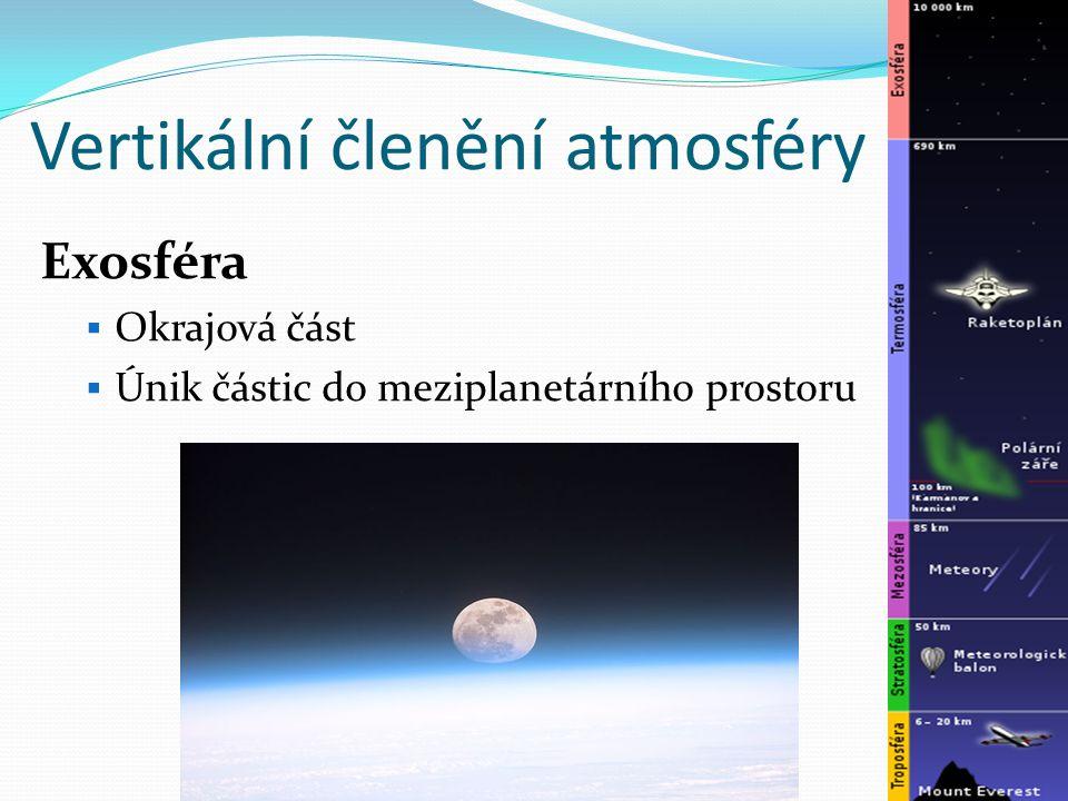Vertikální členění atmosféry Exosféra  Okrajová část  Únik částic do meziplanetárního prostoru
