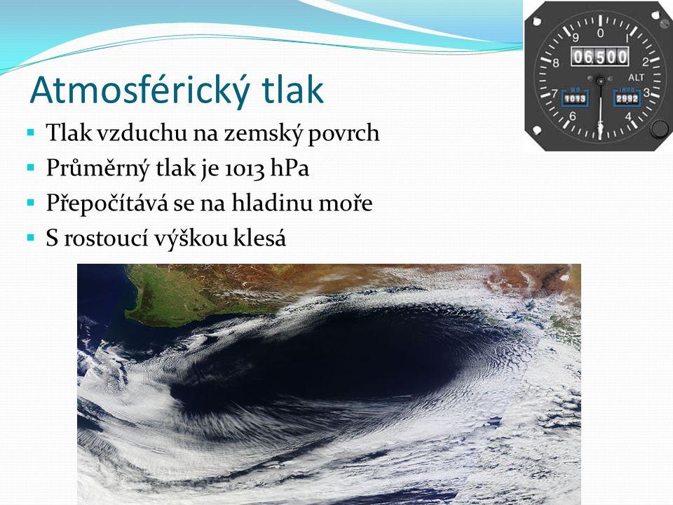 Atmosférický tlak  Tlak vzduchu na zemský povrch  Průměrný tlak je 1013 hPa  Přepočítává se na hladinu moře  S rostoucí výškou klesá