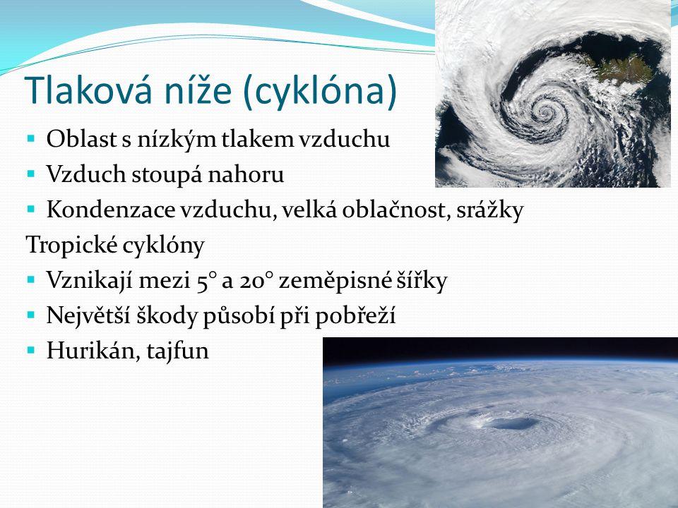 Tlaková níže (cyklóna)  Oblast s nízkým tlakem vzduchu  Vzduch stoupá nahoru  Kondenzace vzduchu, velká oblačnost, srážky Tropické cyklóny  Vznikají mezi 5° a 20° zeměpisné šířky  Největší škody působí při pobřeží  Hurikán, tajfun
