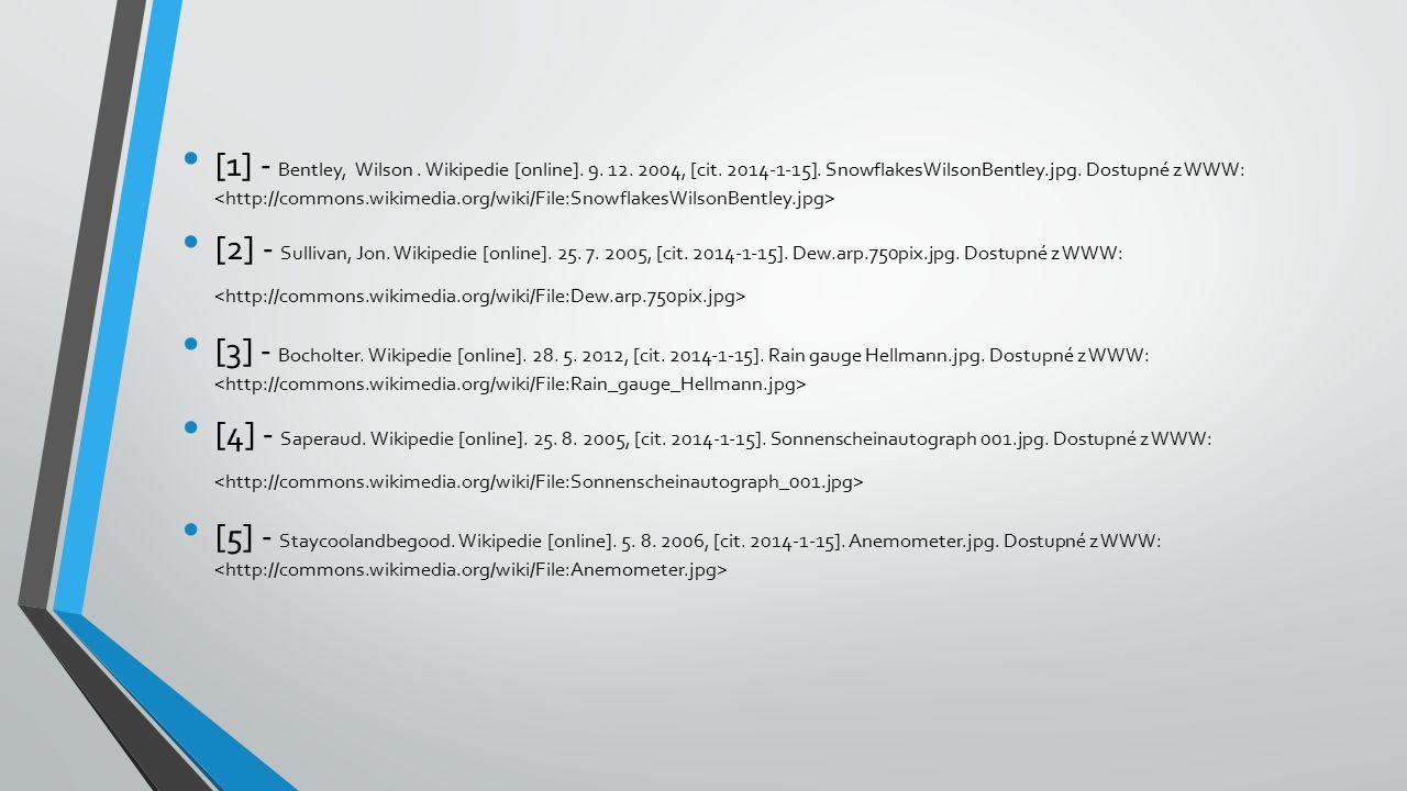 [1] - Bentley, Wilson. Wikipedie [online]. 9. 12. 2004, [cit. 2014-1-15]. SnowflakesWilsonBentley.jpg. Dostupné z WWW: [2] - Sullivan, Jon. Wikipedie