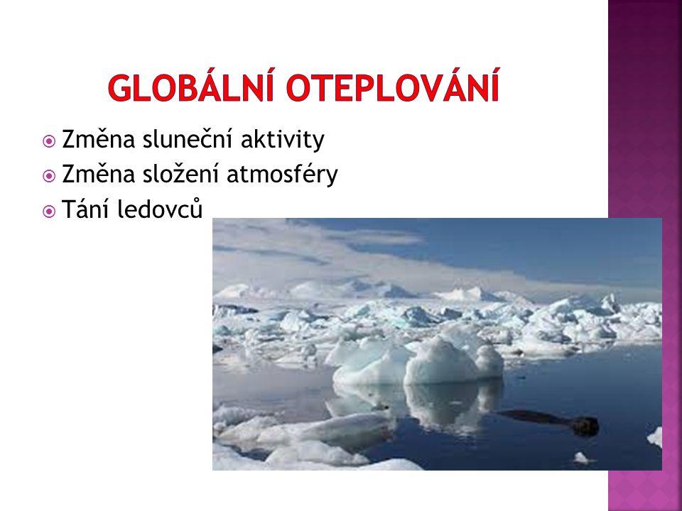  Změna sluneční aktivity  Změna složení atmosféry  Tání ledovců