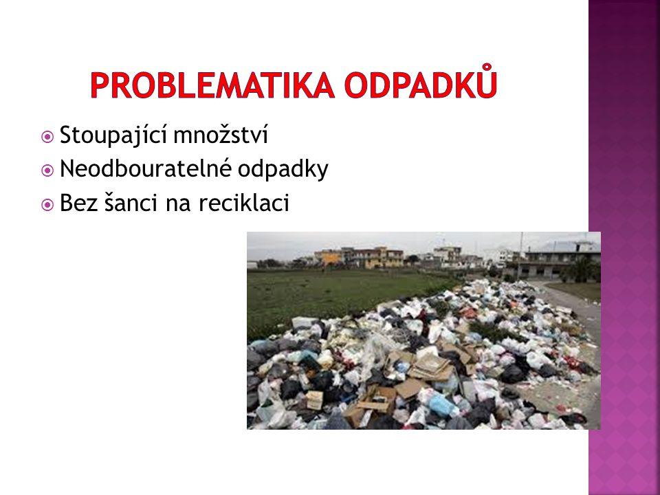  Stoupající množství  Neodbouratelné odpadky  Bez šanci na reciklaci