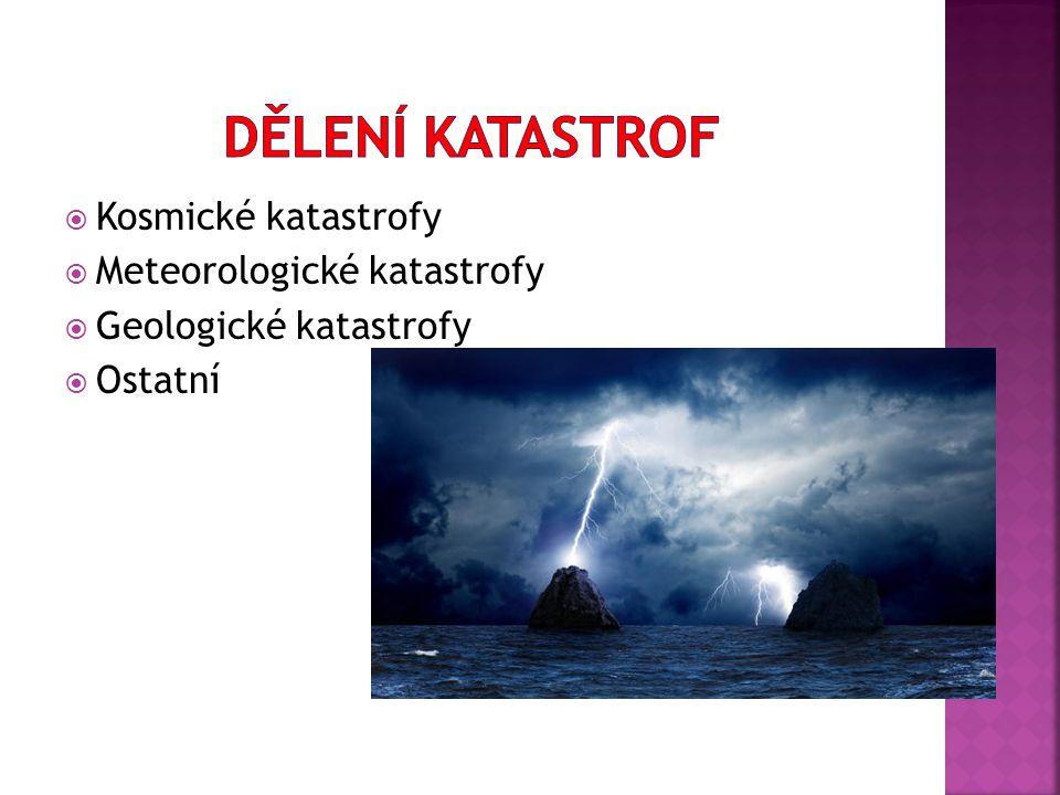  Kosmické katastrofy  Meteorologické katastrofy  Geologické katastrofy  Ostatní