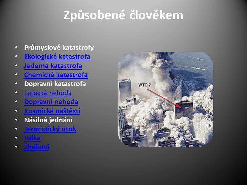 Způsobené člověkem Průmyslové katastrofy Ekologická katastrofa Jaderná katastrofa Chemická katastrofa Dopravní katastrofa Letecká nehoda Dopravní neho