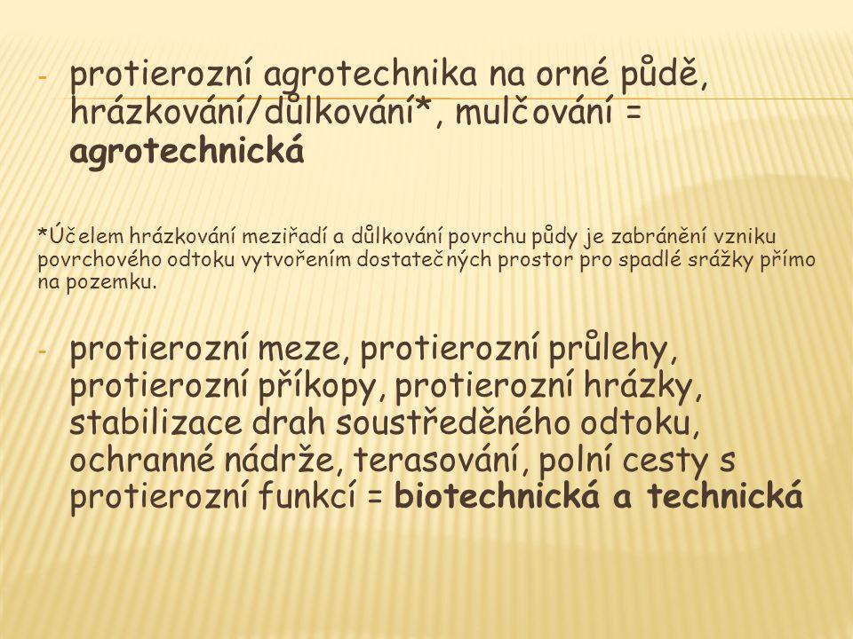 - protierozní agrotechnika na orné půdě, hrázkování/důlkování*, mulčování = agrotechnická *Účelem hrázkování meziřadí a důlkování povrchu půdy je zabr