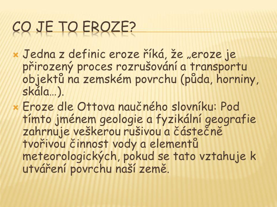 """ Jedna z definic eroze říká, že """"eroze je přirozený proces rozrušování a transportu objektů na zemském povrchu (půda, horniny, skála…).  Eroze dle O"""