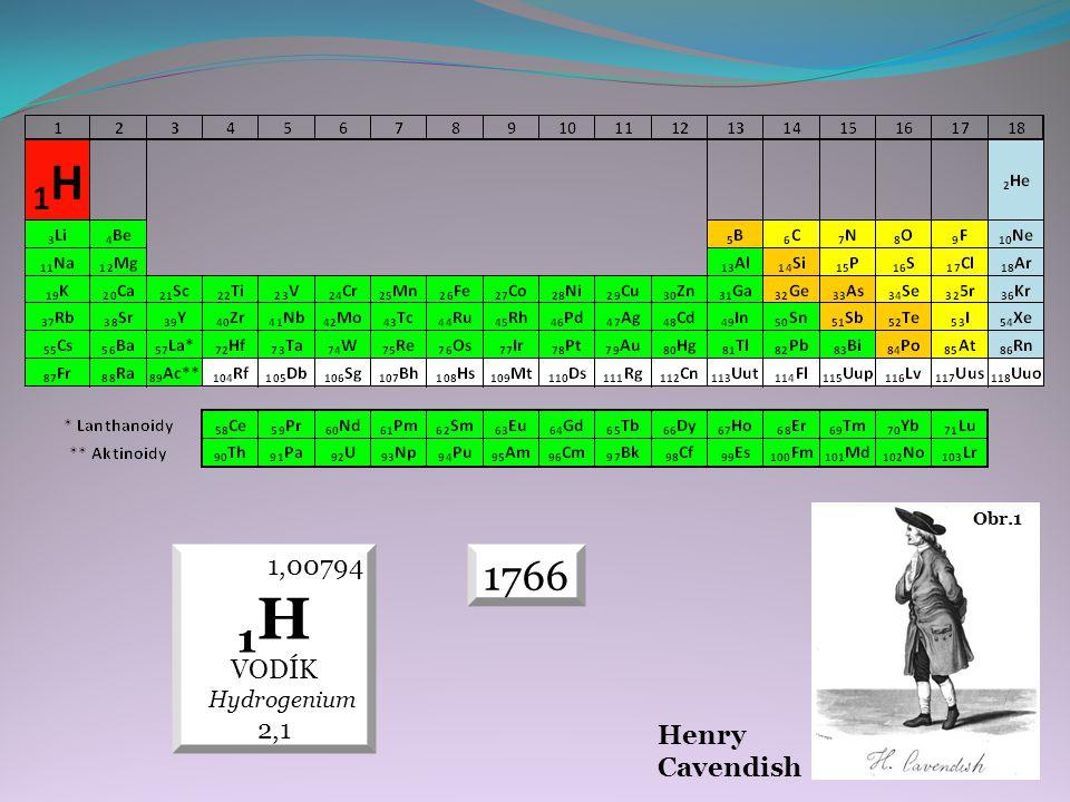 Obr.1 Henry Cavendish 1766 1,00794 1 H VODÍK Hydrogenium 2,1