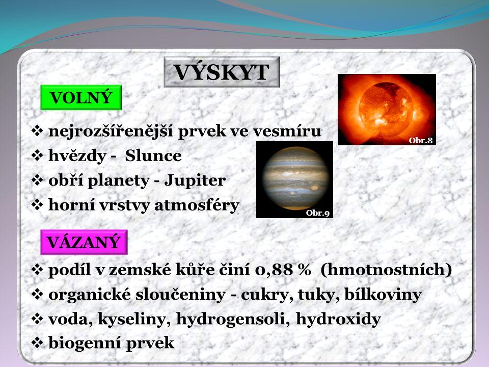 VÝSKYT VOLNÝ VÁZANÝ  nejrozšířenější prvek ve vesmíru  hvězdy - Slunce  obří planety - Jupiter  horní vrstvy atmosféry  podíl v zemské kůře činí 0,88 % (hmotnostních)  organické sloučeniny - cukry, tuky, bílkoviny  voda, kyseliny, hydrogensoli, hydroxidy  biogenní prvek Obr.8 Obr.9