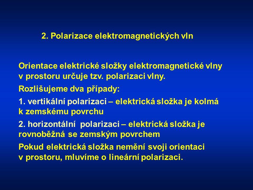 2. Polarizace elektromagnetických vln Orientace elektrické složky elektromagnetické vlny v prostoru určuje tzv. polarizaci vlny. Rozlišujeme dva přípa