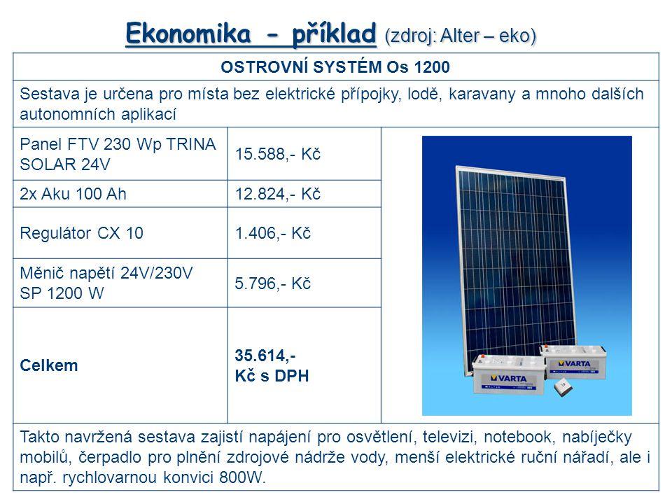Ekonomika - příklad (zdroj: Alter – eko) OSTROVNÍ SYSTÉM Os 1200 Sestava je určena pro místa bez elektrické přípojky, lodě, karavany a mnoho dalších autonomních aplikací Panel FTV 230 Wp TRINA SOLAR 24V 15.588,- Kč 2x Aku 100 Ah12.824,- Kč Regulátor CX 101.406,- Kč Měnič napětí 24V/230V SP 1200 W 5.796,- Kč Celkem 35.614,- Kč s DPH Takto navržená sestava zajistí napájení pro osvětlení, televizi, notebook, nabíječky mobilů, čerpadlo pro plnění zdrojové nádrže vody, menší elektrické ruční nářadí, ale i např.