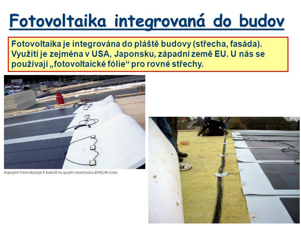 Fotovoltaika integrovaná do budov Fotovoltaika je integrována do pláště budovy (střecha, fasáda).
