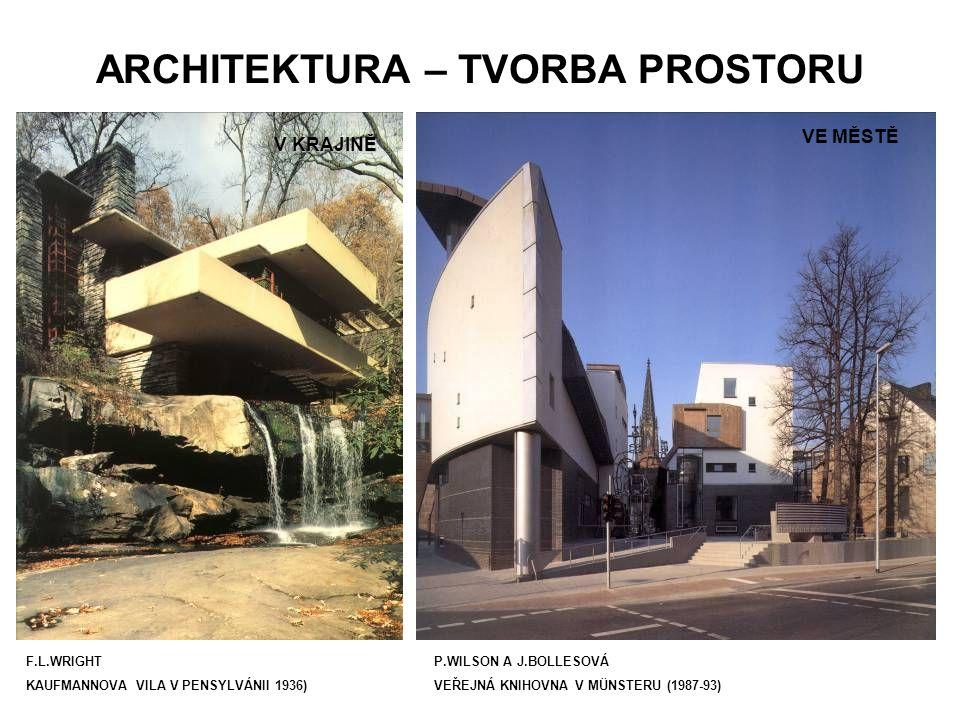 ARCHITEKTURA – TVORBA PROSTORU F.L.WRIGHT KAUFMANNOVA VILA V PENSYLVÁNII 1936) VE MĚSTĚ V KRAJINĚ P.WILSON A J.BOLLESOVÁ VEŘEJNÁ KNIHOVNA V MÜNSTERU (1987-93)