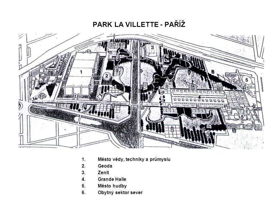 PARK LA VILLETTE - PAŘÍŽ 1.Město vědy, techniky a průmyslu 2.Geoda 3.Zenit 4.Grande Halle 5.Město hudby 6.Obytný sektor sever