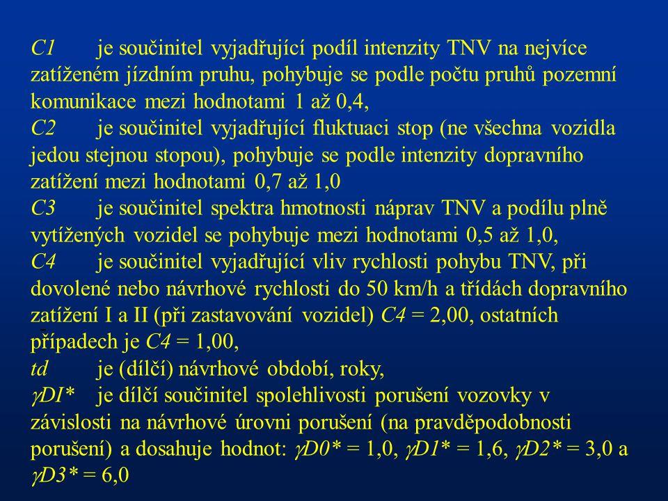 - C1je součinitel vyjadřující podíl intenzity TNV na nejvíce zatíženém jízdním pruhu, pohybuje se podle počtu pruhů pozemní komunikace mezi hodnotami 1 až 0,4, C2je součinitel vyjadřující fluktuaci stop (ne všechna vozidla jedou stejnou stopou), pohybuje se podle intenzity dopravního zatížení mezi hodnotami 0,7 až 1,0 C3je součinitel spektra hmotnosti náprav TNV a podílu plně vytížených vozidel se pohybuje mezi hodnotami 0,5 až 1,0, C4je součinitel vyjadřující vliv rychlosti pohybu TNV, při dovolené nebo návrhové rychlosti do 50 km/h a třídách dopravního zatížení I a II (při zastavování vozidel) C4 = 2,00, ostatních případech je C4 = 1,00, td je (dílčí) návrhové období, roky,  DI*je dílčí součinitel spolehlivosti porušení vozovky v závislosti na návrhové úrovni porušení (na pravděpodobnosti porušení) a dosahuje hodnot:  D0* = 1,0,  D1* = 1,6,  D2* = 3,0 a  D3* = 6,0