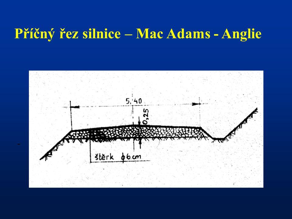 - Příčný řez silnice – Mac Adams - Anglie