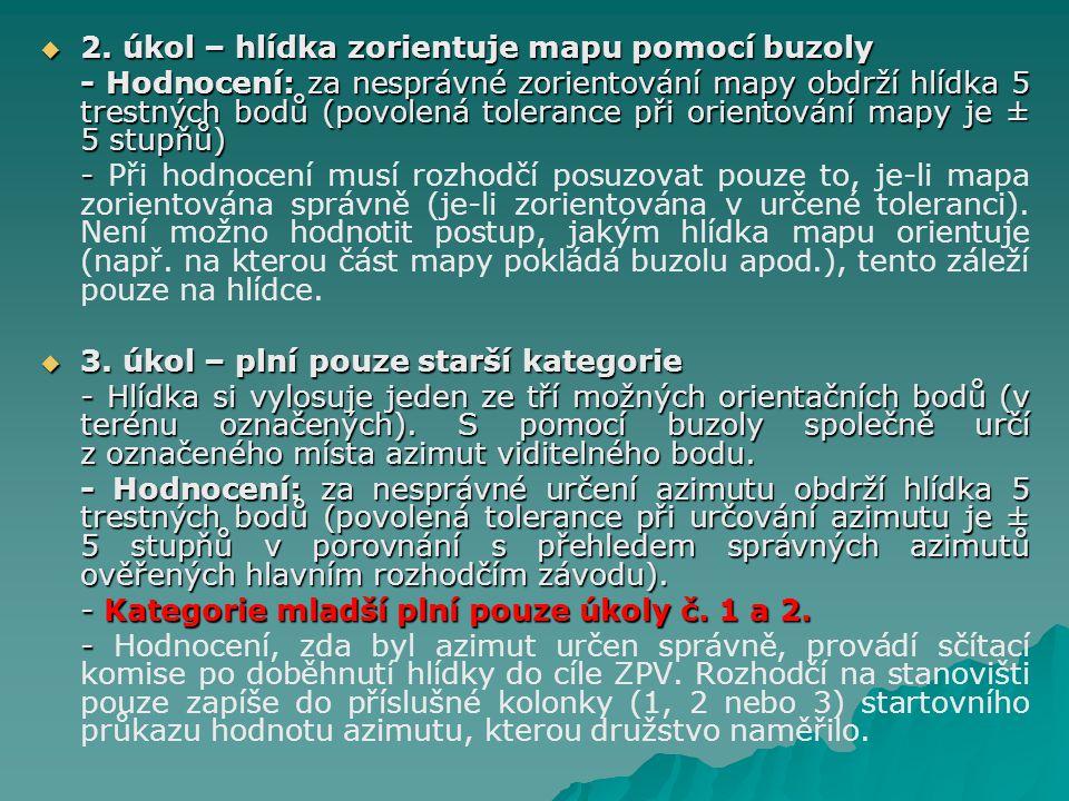  2. úkol – hlídka zorientuje mapu pomocí buzoly - Hodnocení: za nesprávné zorientování mapy obdrží hlídka 5 trestných bodů (povolená tolerance při or