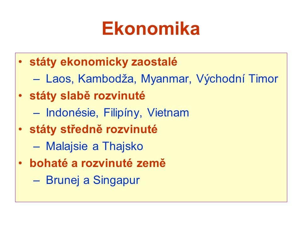 Ekonomika státy ekonomicky zaostalé – Laos, Kambodža, Myanmar, Východní Timor státy slabě rozvinuté – Indonésie, Filipíny, Vietnam státy středně rozvi